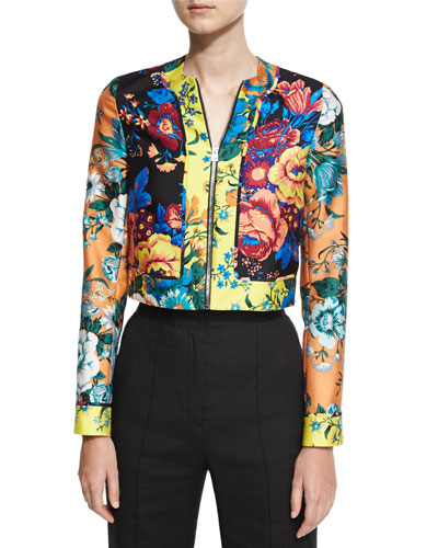 Bournier Fitted Paneled Collarless Jacket, Multiprint