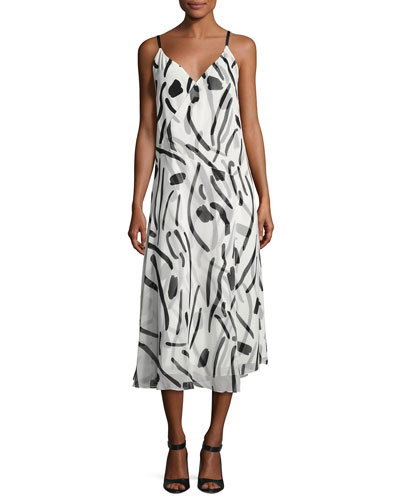 V-Neck Crossover Silk Dress, White Chatham Print