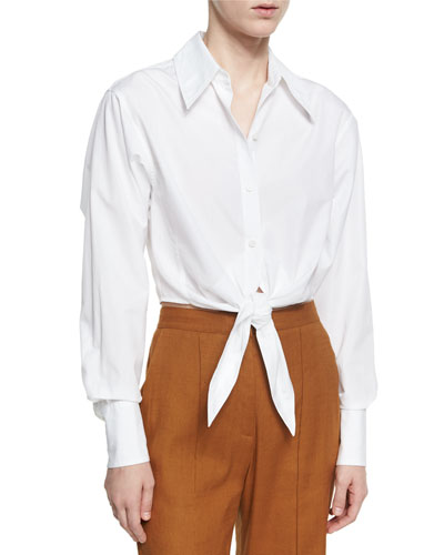 Collared Front-Tie Cotton Shirt, White
