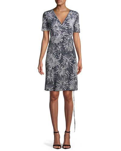 Short-Sleeve Floral-Print Wrap Dress, Blue Pattern