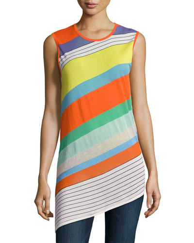 Sleeveless Asymmetric-Hem Shell Top, Multi