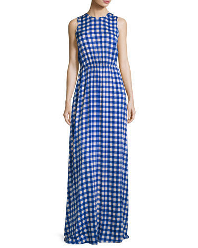 Check-Print Sleeveless Cinched-Waist Maxi Dress, Blue