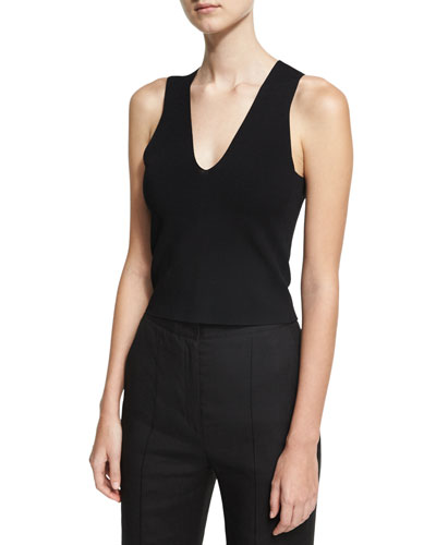 Sleeveless Paneled Knit Blouse, Black