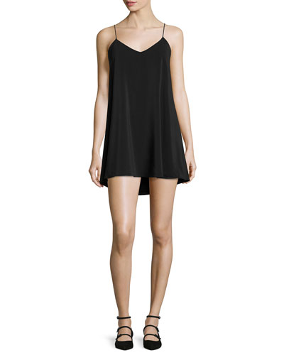 Lilla Spaghetti Strap Swing Tunic Dress, Black