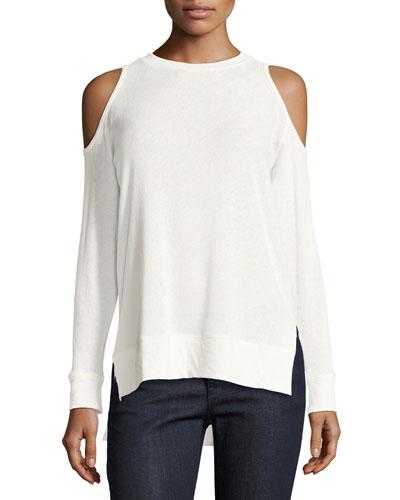 Landon Cold-Shoulder Sweater, Off-White