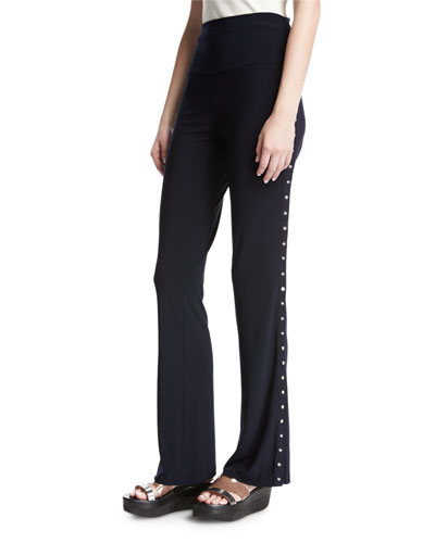 Side-Snap Boot Pants, Navy