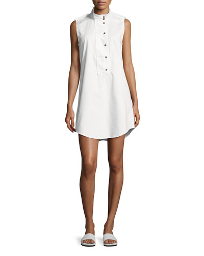 Freda Sleeveless Cotton Shift Dress, White