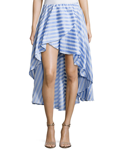 Adelle Striped Cotton Ruffle Skirt, Blue/White