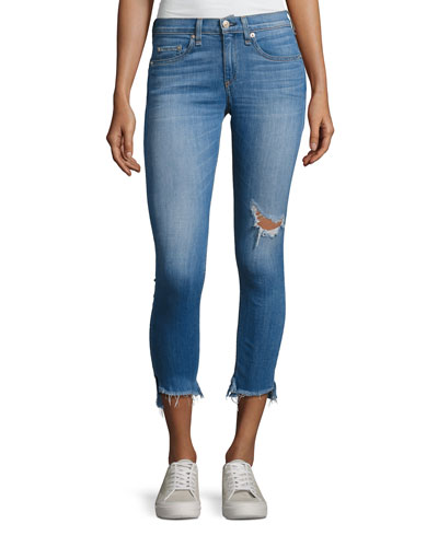 Capri Distressed Denim Jeans, Indigo