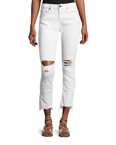 Dre Distressed Mid-Rise Capri Jeans, White