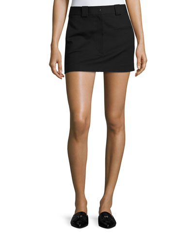 Cotton-Stretch Mini Skirt, Black