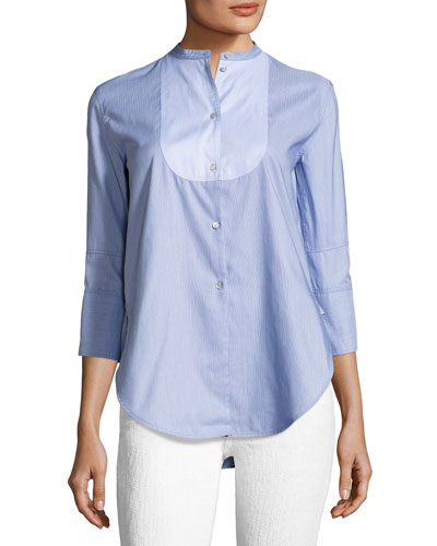 Ottoman Tuxedo Poplin Shirt, Blue