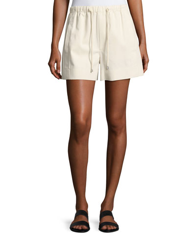 Drawstring Pull-On Cotton Shorts, White