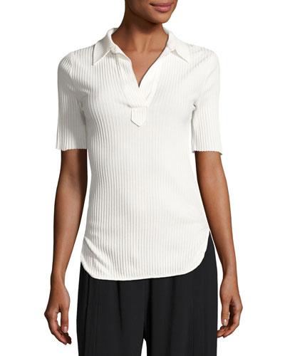 Corded Rib-Knit Short-Sleeve Shirt, White