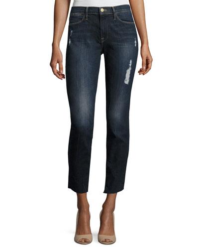 Le High Skinny Crop Cascade Hem Jeans, Blue