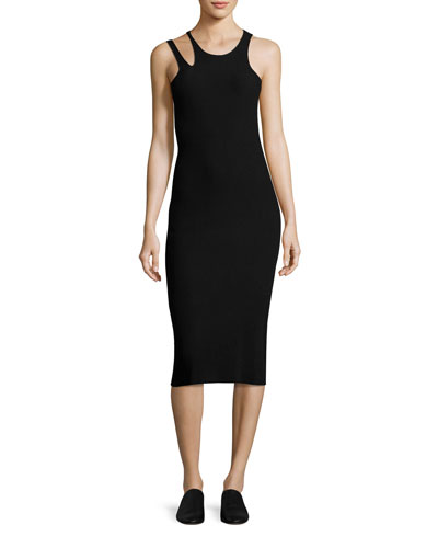 Slash Rib-Knit Sleeveless Midi Dress, Black