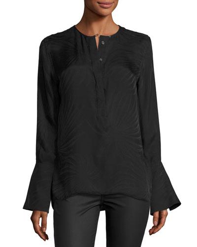 Kenley Bell-Sleeve Silk Shirt, Black