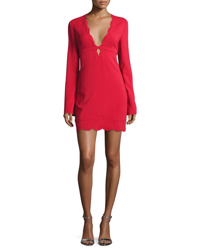 Eve Scalloped Stretch Crepe Dress, Crimson