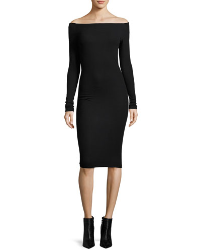 Modal Rib Off-the-Shoulder Midi Dress, Black