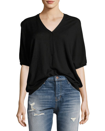 Batwing Henley Sweater Top, Black