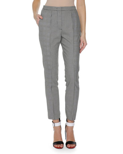 Plaid Gingham Print Trousers, Black Pattern