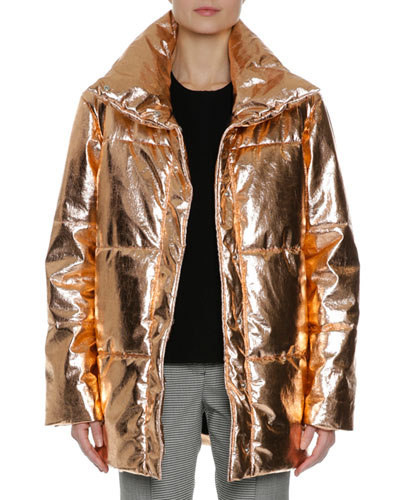 Metallic Quilted Puffer Coat, Gold