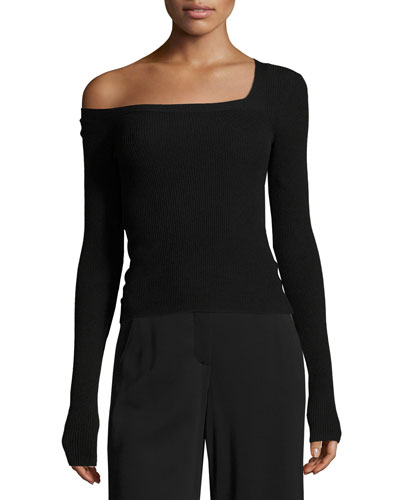 Aria One-Shoulder Long-Sleeve Sweater, Black