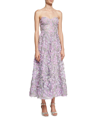 Strapless 3D Floral Cocktail Dress, Lilac