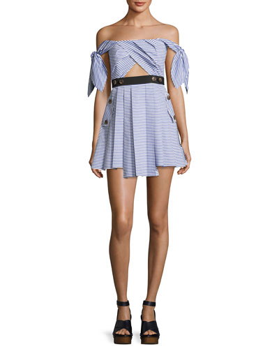 Striped Shirting Tie-Sleeves Mini Dress, Blue