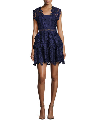 Clover Embroidered Mini Dress, Navy
