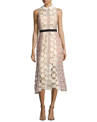 3-D Floral Panel Midi Dress, Multi