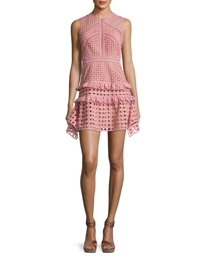 Crosshatch Frill Mini Dress, Pink