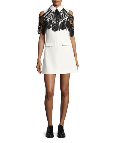 Monochrome Lace Cape Mini Dress, Black/White