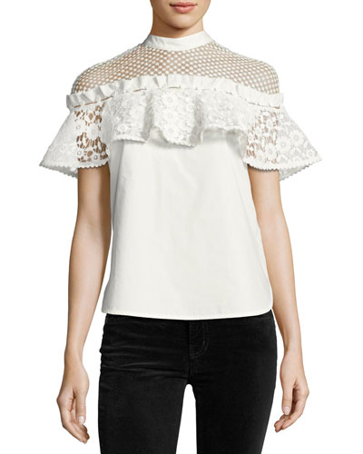 Hudson Dot-Mesh Poplin Top, White