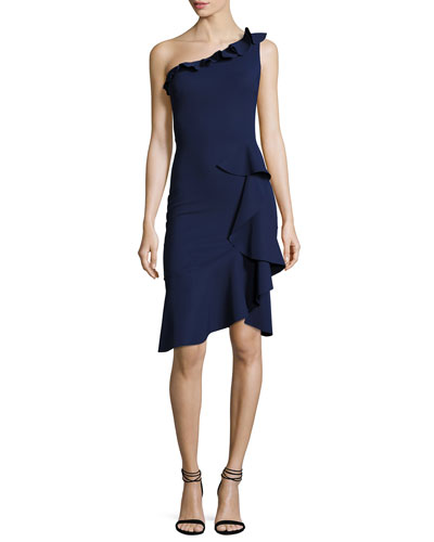 Cornelie One-Shoulder Ruffled Faux-Wrap Dress, Navy