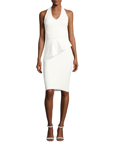 Sauvanne Halter Peplum Sheath Dress