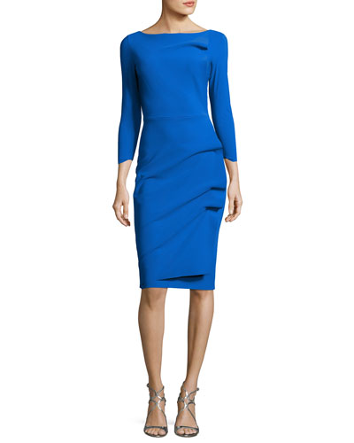 Rhea 3/4-Sleeve Ruched Cocktail Dress, Blue Klein