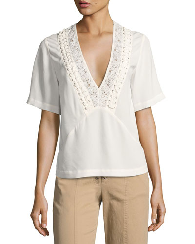Annora Short-Sleeve Silk Top, Beige