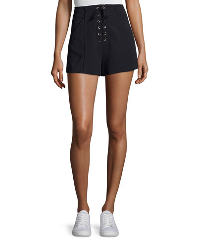 Kyle Lace-Up High-Waist Shorts, Navy