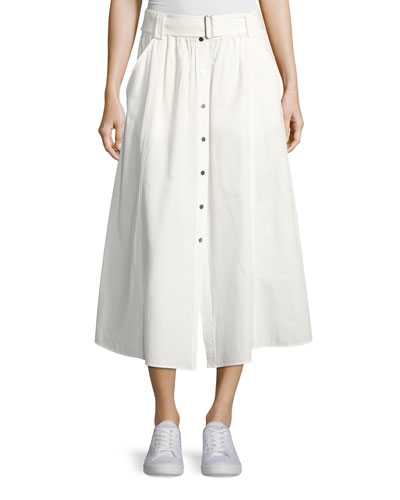 Divya Button-Front Poplin Maxi Skirt