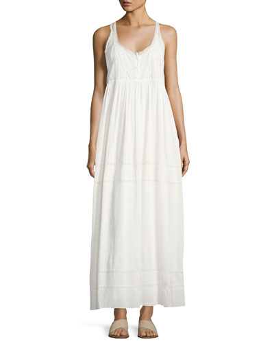 The Lace Cotton Maxi Dress, White
