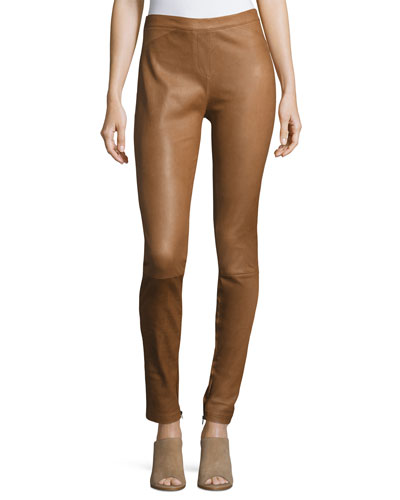 Fitted Stretch Side-Zip Hem Leather Leggings
