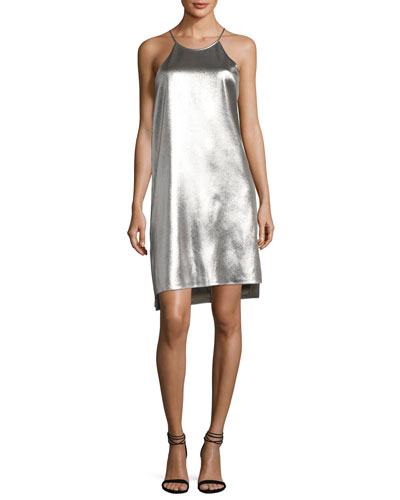 Sleeveless Racerback Metallic Slip Dress