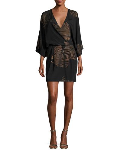 Kimono-Sleeve Faux-Wrap Printed Dress