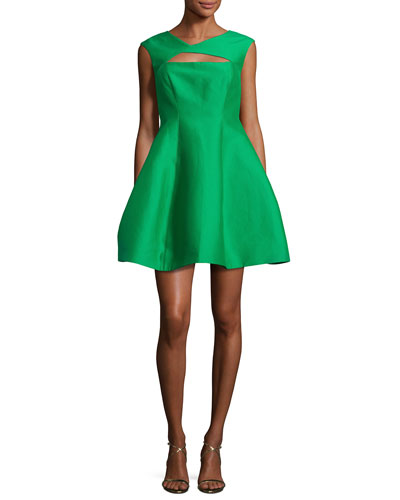Sleeveless Faille Fit-and-Flare Cocktail Dress, Viridian