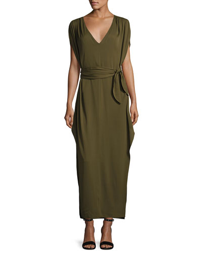 Flowy Deep V-Neck Silk Georgette Maxi Dress