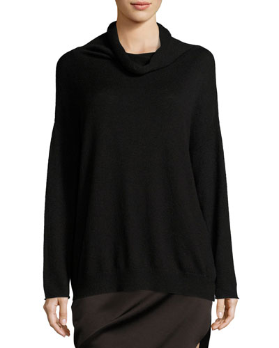Long-Sleeve Funnel-Neck Oversized Sweater