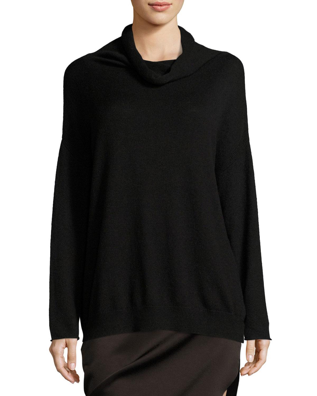 Long-Sleeve Funnel-Neck Oversized Sweater