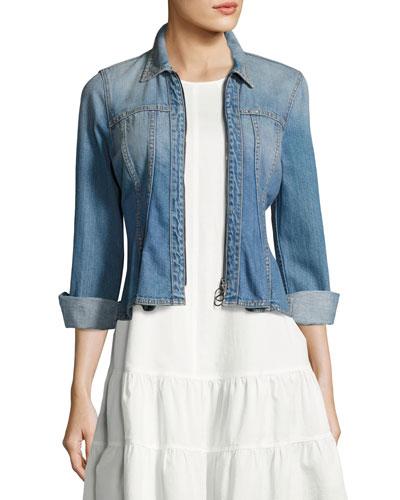 Denim Long-Sleeve Peplum Zip Jacket, Blue