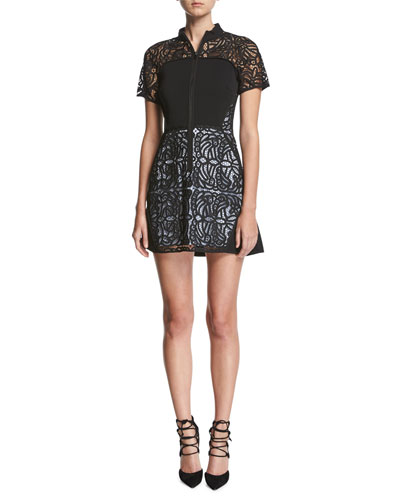 Jude Short-Sleeve Zip-Front Lace Mini Dress